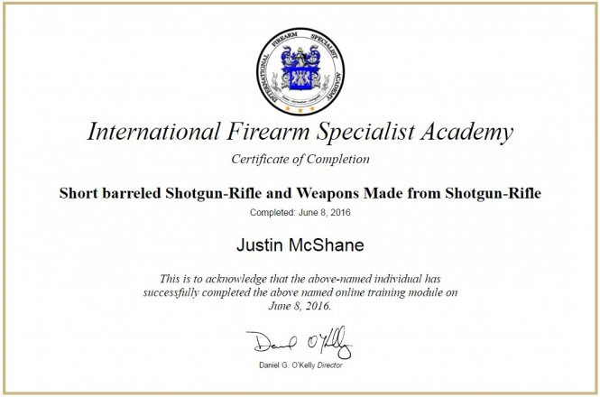 2016 Short barreled Shotgun-Rifle and Weapons Made from Shotgun-Rifle - IFSA