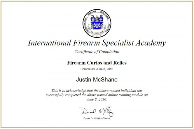 2016 Firearm Curious and Relics - IFSA