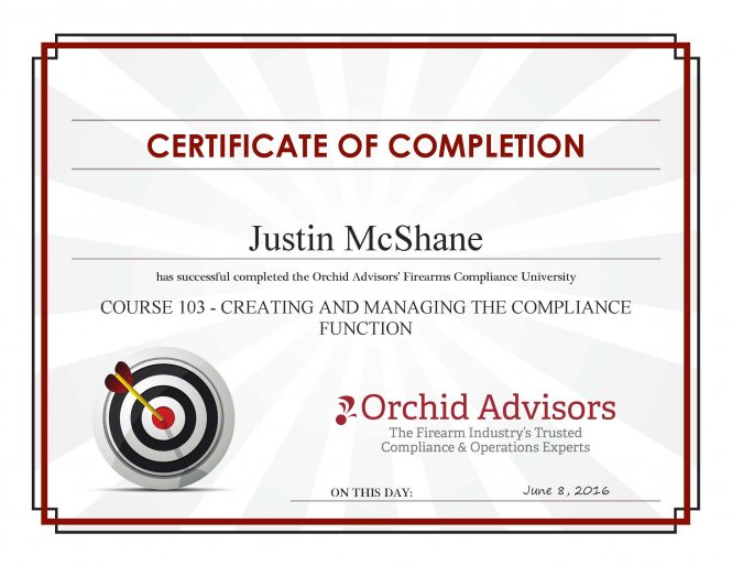 2016 Course 103 - Creating And Managing The Compliance Function
